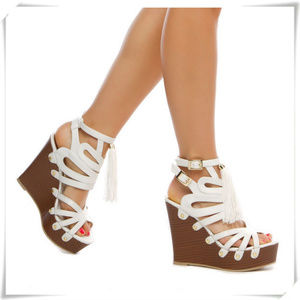 Strappy Cut Out Sling Back Tassel Wedge Sandals